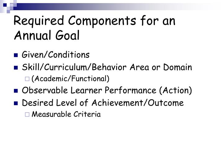 Required Components for an Annual Goal