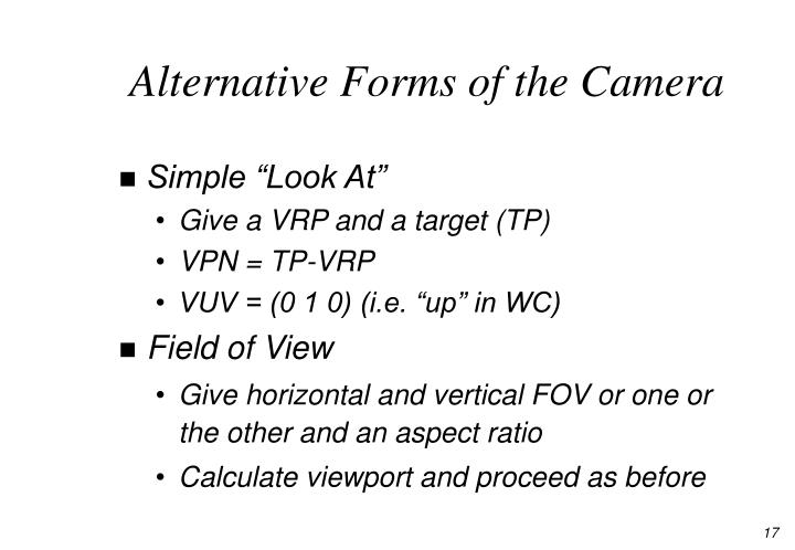 Alternative Forms of the Camera
