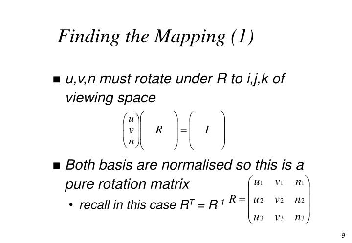 Finding the Mapping (1)