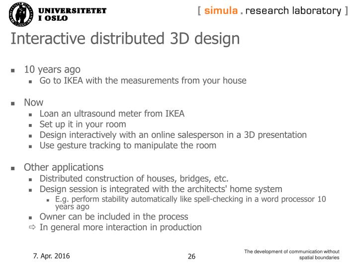 Interactive distributed 3D design