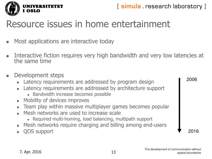 Resource issues in home entertainment