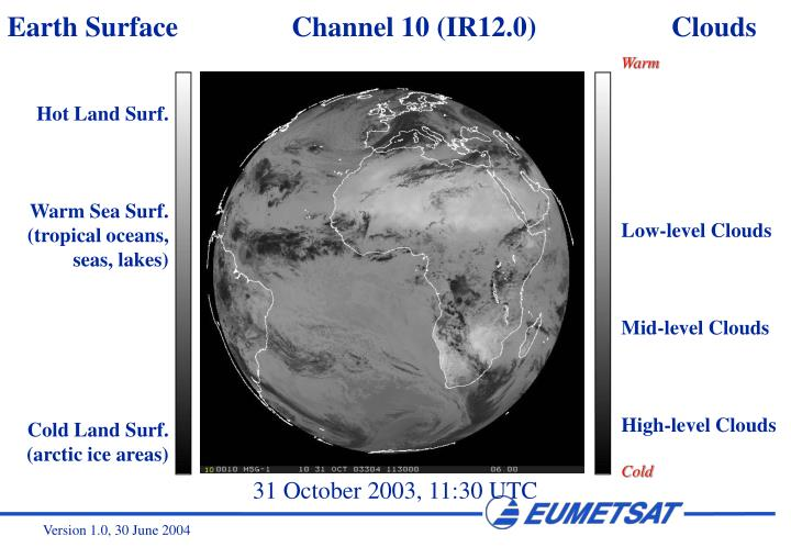 Earth Surface                Channel 10 (IR12.0)                   Clouds