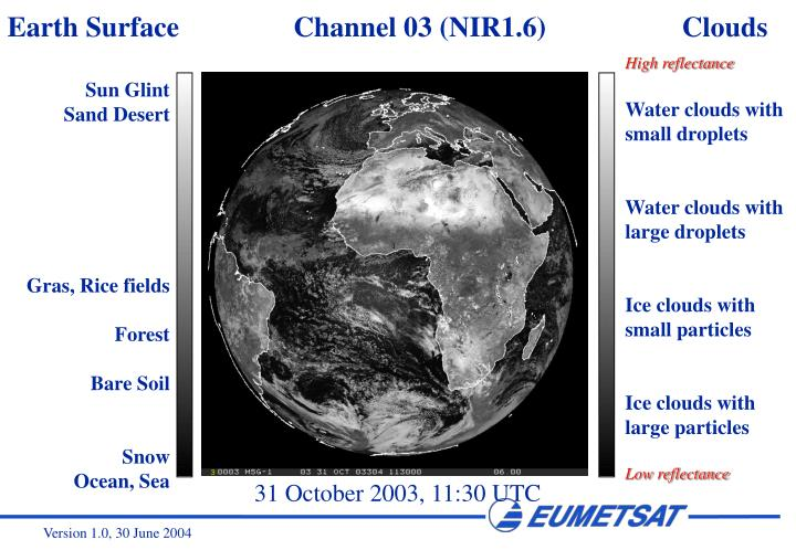 Earth Surface                Channel 03 (NIR1.6)                   Clouds