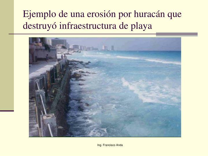 Ejemplo de una erosión por huracán que destruyó infraestructura de playa