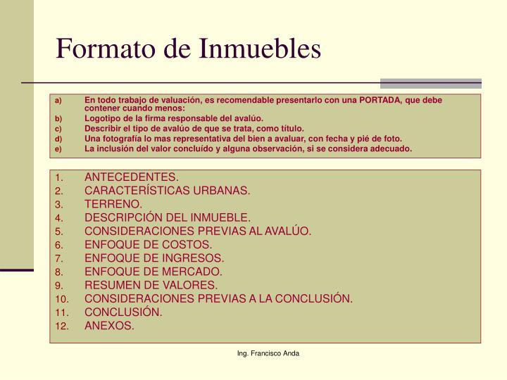 Formato de Inmuebles