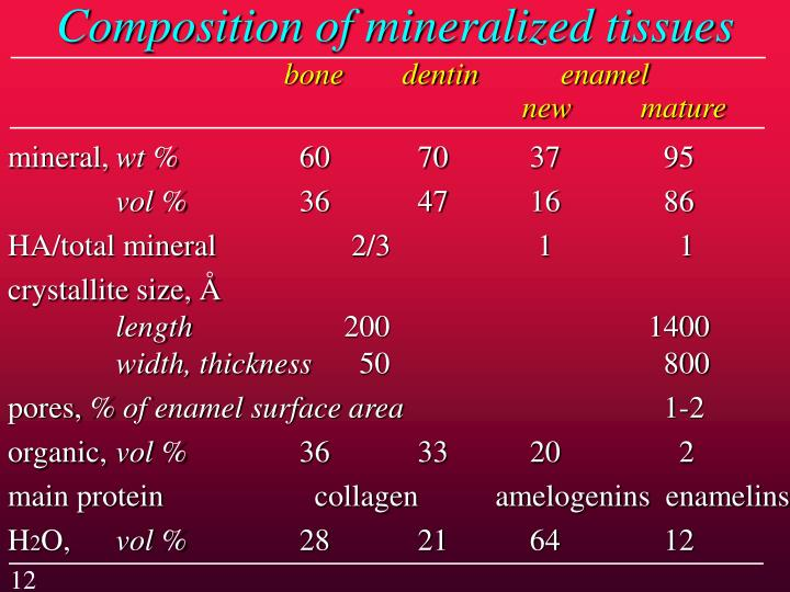 Composition of mineralized tissues
