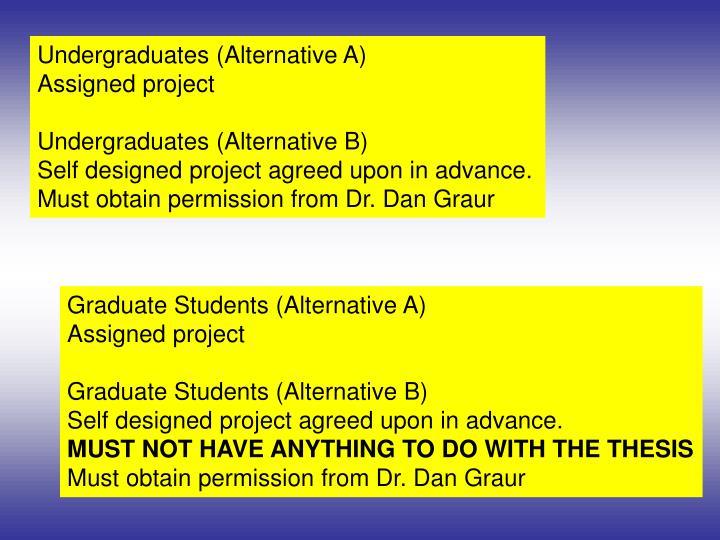Undergraduates (Alternative A)
