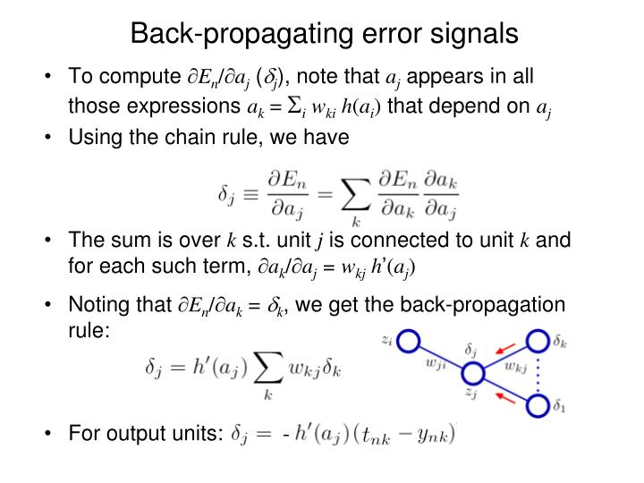 Back-propagating error signals