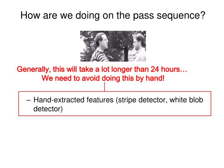 How are we doing on the pass sequence