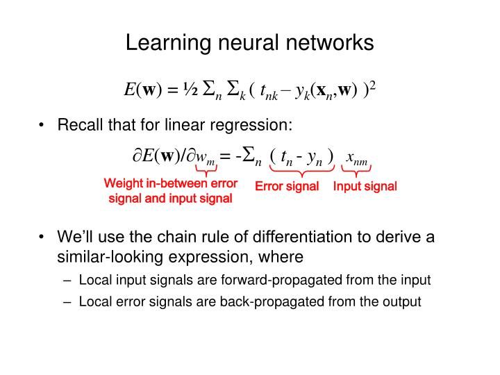 Learning neural networks