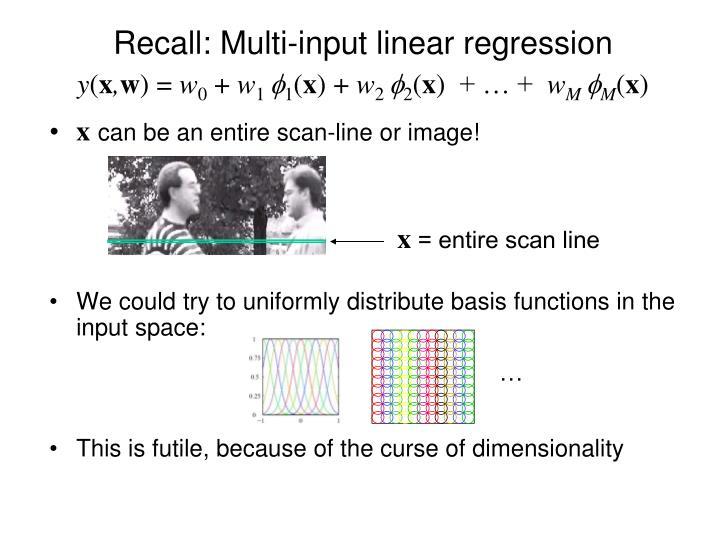 Recall multi input linear regression