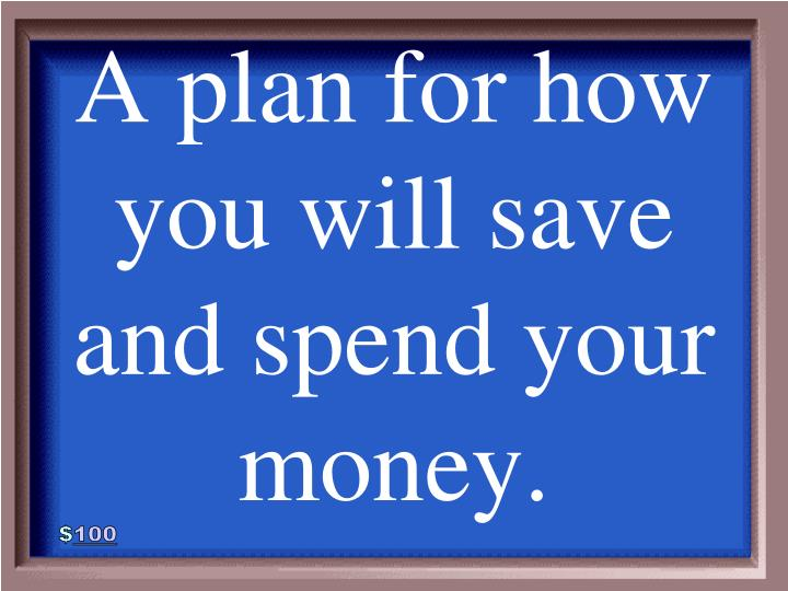 A plan for how you will save and spend your money.