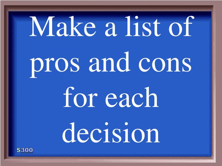 Make a list of pros and cons for each decision