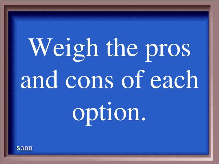 Weigh the pros and cons of each option.