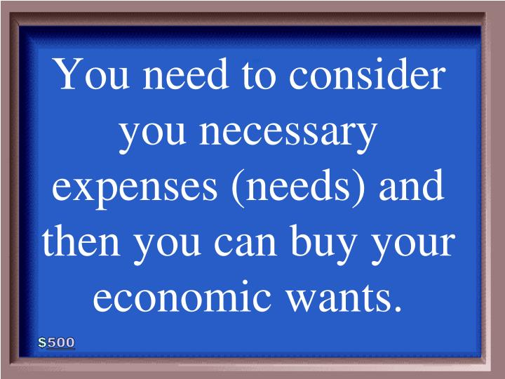 You need to consider you necessary expenses (needs) and then you can buy your economic wants.