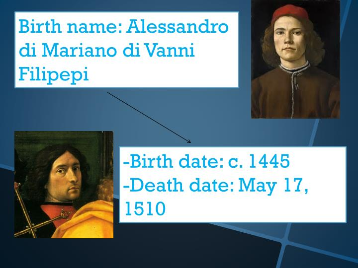 Birth name: Alessandro di Mariano di Vanni Filipepi