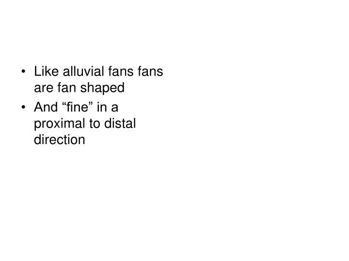 Like alluvial fans fans are fan shaped