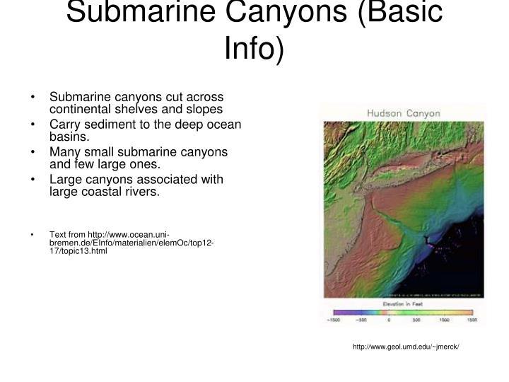 Submarine canyons basic info