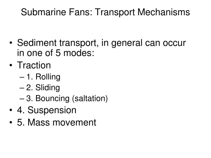 Submarine Fans: Transport Mechanisms