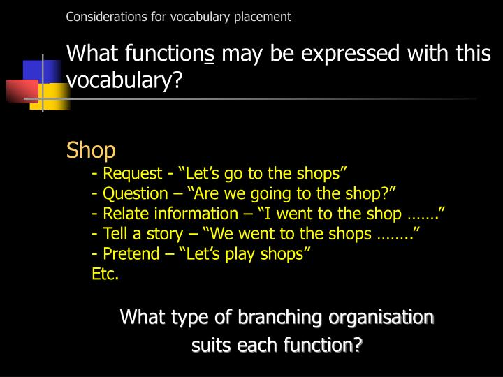 Considerations for vocabulary placement