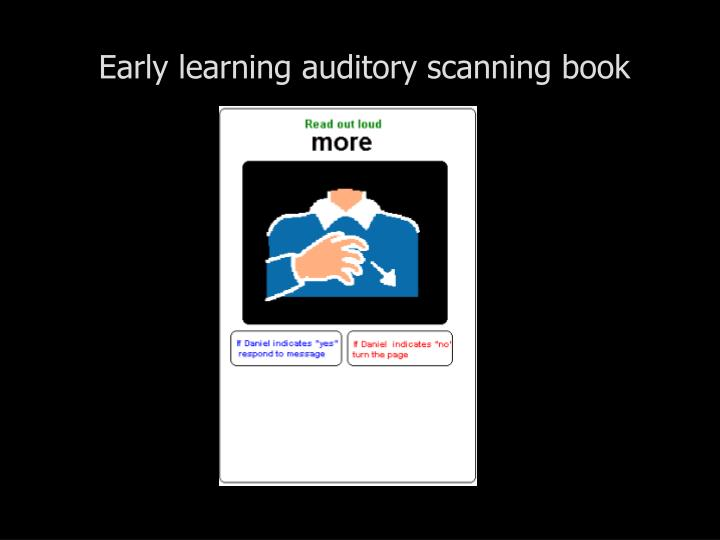 Early learning auditory scanning book