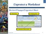 unprotect a worksheet
