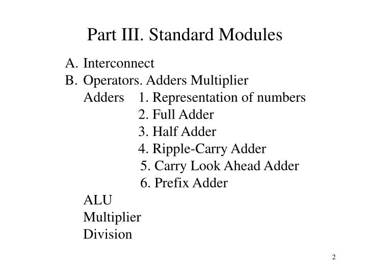 Part iii standard modules
