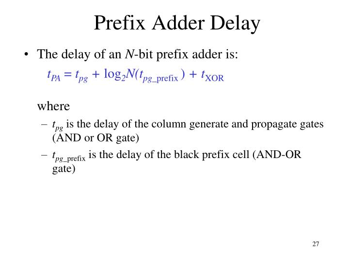 Prefix Adder Delay