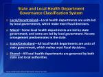 state and local health department governance classification system