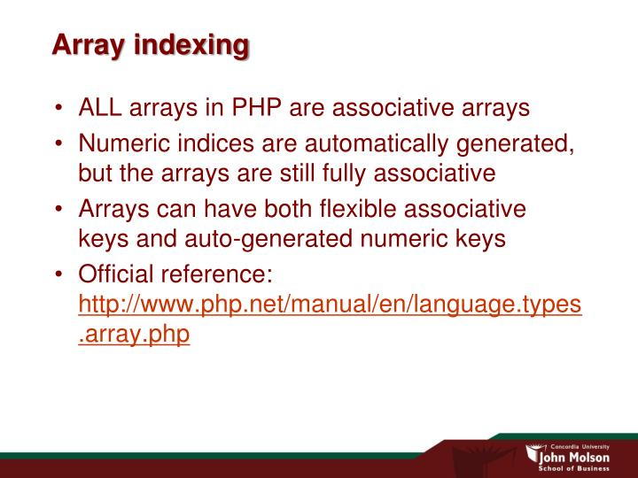 Array indexing
