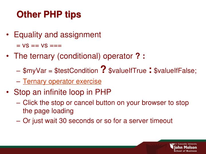 Other PHP tips
