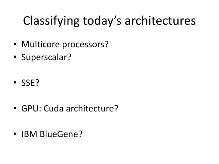Classifying today's architectures