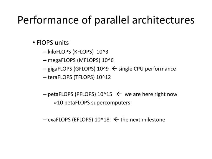 Performance of parallel architectures