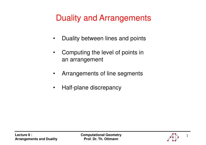 duality and arrangements n.