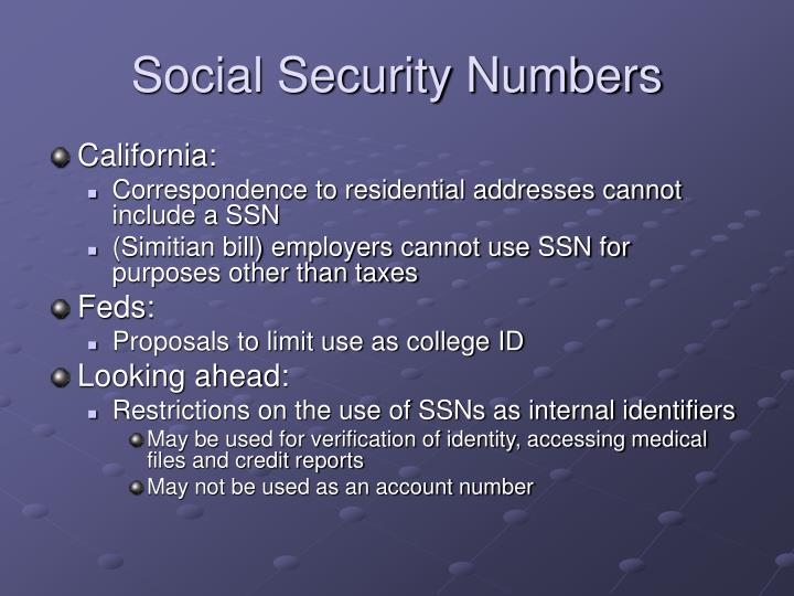 Social Security Numbers