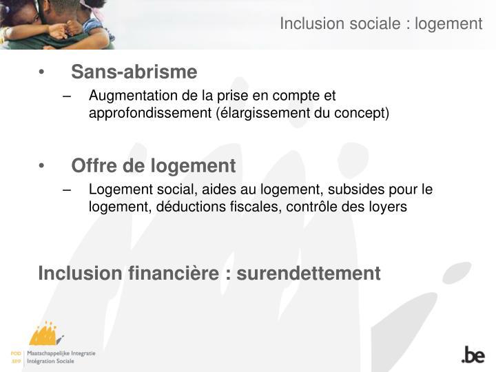 Inclusion sociale : logement