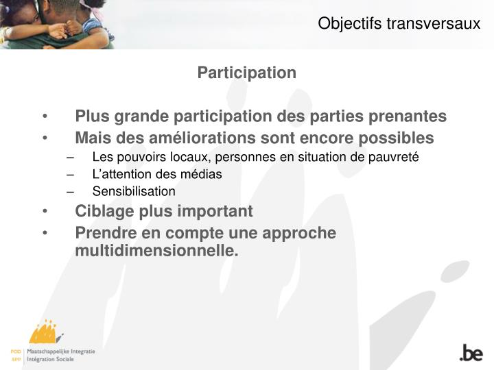 Objectifs transversaux