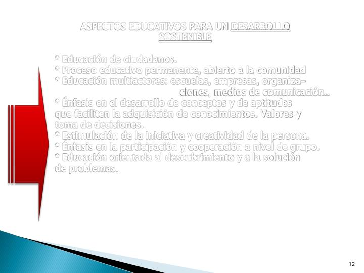 ASPECTOS EDUCATIVOS PARA UN