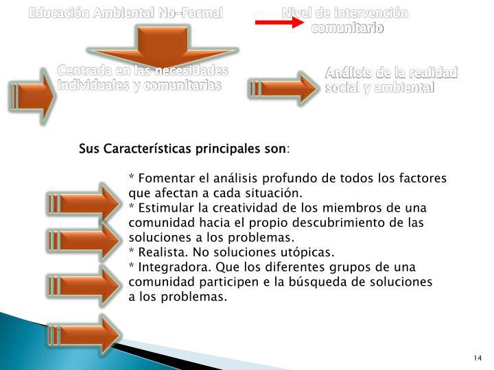Educación Ambiental No-Formal               Nivel de intervención