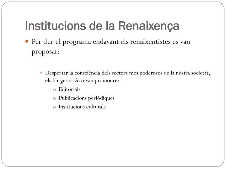 Institucions de la Renaixença