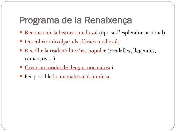 Programa de la Renaixença