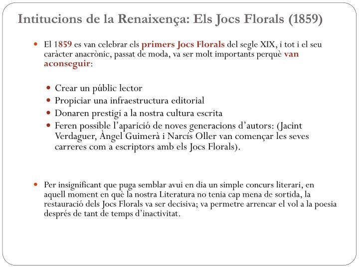 Intitucions de la Renaixença: Els Jocs Florals (1859)