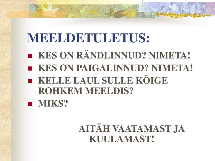 MEELDETULETUS:
