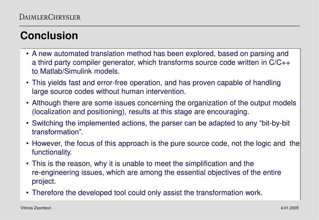 PPT - Transformation of C code to Matlab/Simulink models Approach