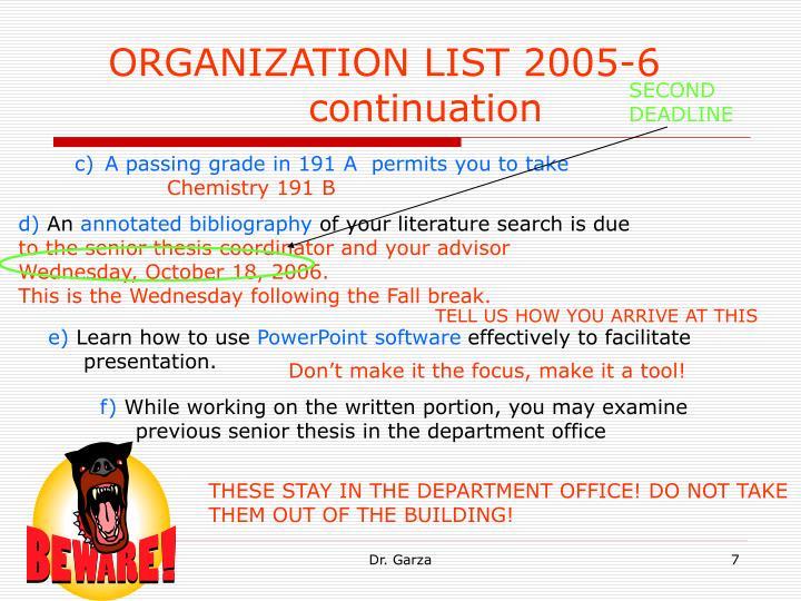 ORGANIZATION LIST 2005-6