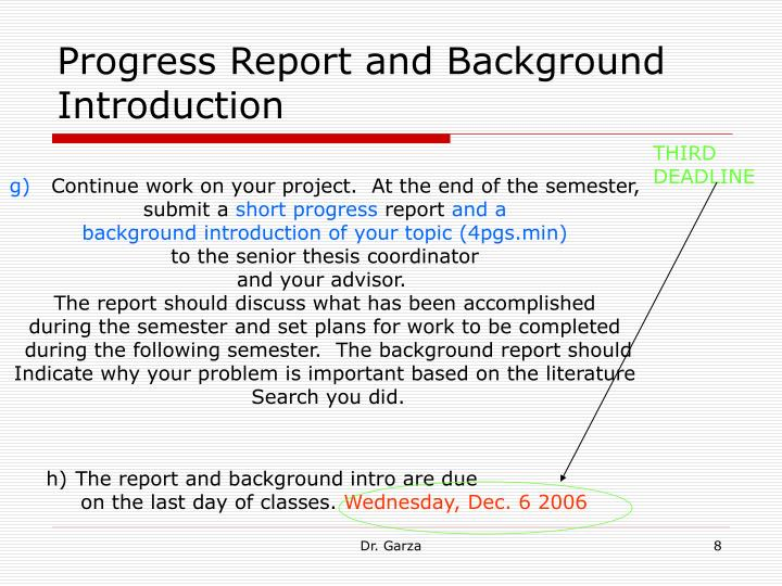 Progress Report and Background Introduction