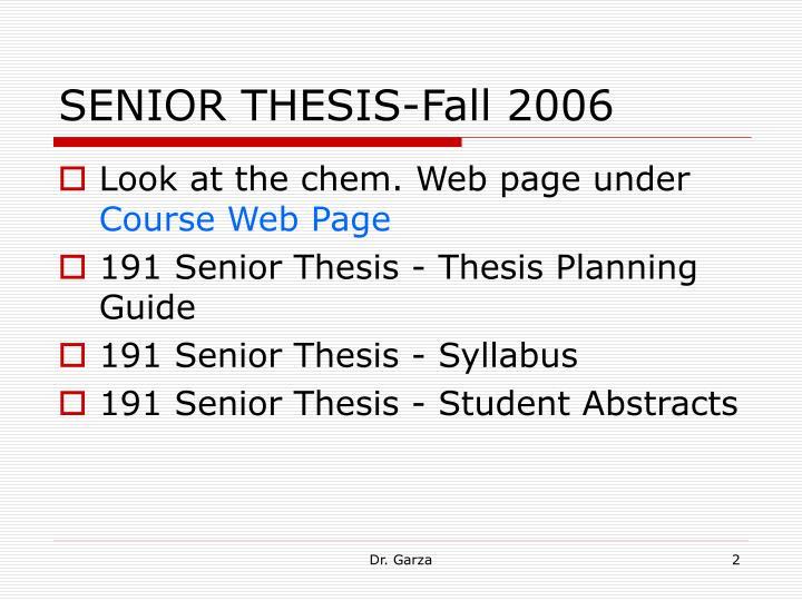 Senior thesis fall 2006