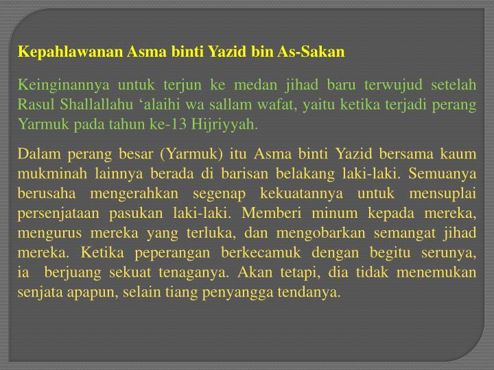 Kepahlawanan Asma binti Yazid bin As-Sakan