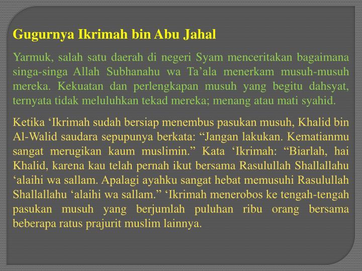 Gugurnya Ikrimah bin Abu Jahal