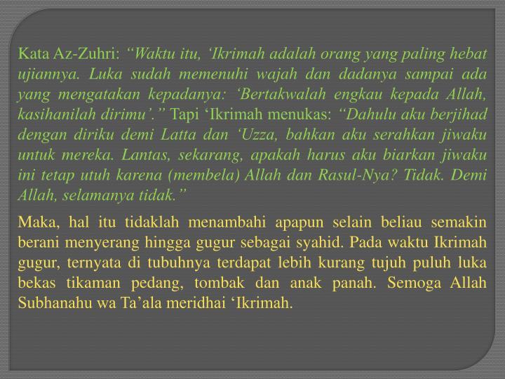 Kata Az-Zuhri: